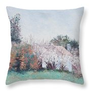 Country Cottage In Spring Time Throw Pillow