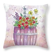 Country Flowers Throw Pillow