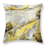 Country Glow - Yellow And Gray Modern Artwork Paintings Throw Pillow by Lourry Legarde