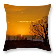 Country Golden Sunrise Throw Pillow