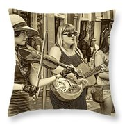 Country In The French Quarter 3 Sepia Throw Pillow