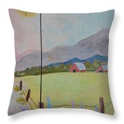 Country Landscape On Barnwood Throw Pillow