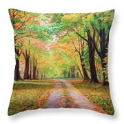 Country Lane - A Walk In Autumn Throw Pillow