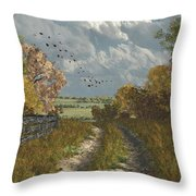 Country Lane In Fall Throw Pillow