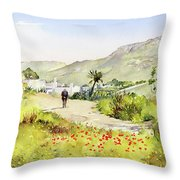 Country Lane In Spring Throw Pillow