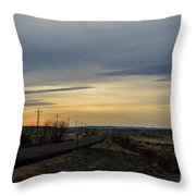 Country Morning School Bus Throw Pillow