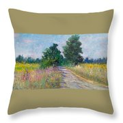 Country Path With Sunflowers Throw Pillow
