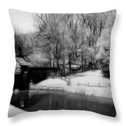 Mabry Mill Throw Pillow by Ella Char
