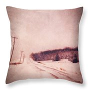 Country Road In Snow Throw Pillow by Jill Battaglia