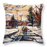 Purchase Best Original Quebec Winter Scene Paintings Achetez  Paysage De Quebec Cspandau Art Throw Pillow