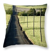 Country Road, Wheat Fields Throw Pillow