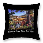 Country Roads Take Me Home T Shirt - Coon Gap Holler - Appalachian Country Landscape 2 Throw Pillow