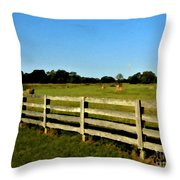 Country Scene With Field And Hay Bales Throw Pillow