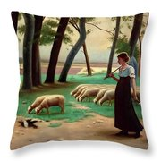 Country Shepherdess  Throw Pillow