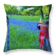 Country Western Blue Bonnets Throw Pillow