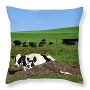 Countryside Cows Throw Pillow