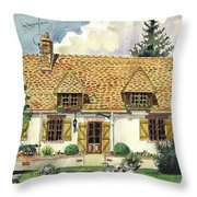 Countryside House In France Throw Pillow