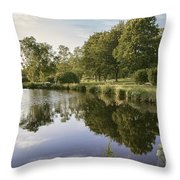 Countryside Park Pond Throw Pillow