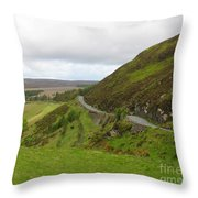 Countryside Road Bends Around Hill Throw Pillow