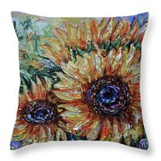 Countryside Sunflowers Throw Pillow