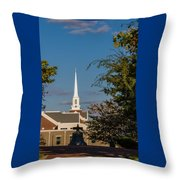 County Courthouse Bell And Church Spire Throw Pillow