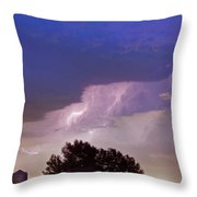 County Line Northern Colorado Lightning Storm Throw Pillow
