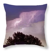 County Line Northern Colorado Lightning Storm Panorama Throw Pillow