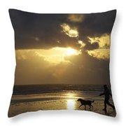 County Meath, Ireland Girl Walking Dog Throw Pillow