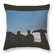 Couple And Cetacean Throw Pillow