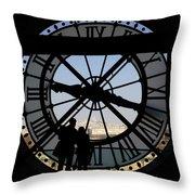 Couple And Clock D'orsay Museum Paris Throw Pillow
