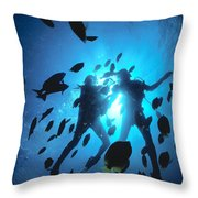 Couple And Fish Throw Pillow