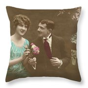 Couple At Beach Colorized Throw Pillow