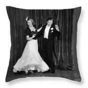 Couple Ballroom Dancing On Stage Throw Pillow