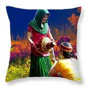 Couple Moon And Water Throw Pillow