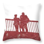 Couple On Bridge Throw Pillow