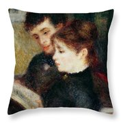 Couple Reading Throw Pillow by Pierre Auguste Renoir