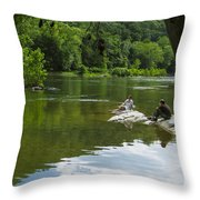 Couple Relaxing By The Shenandoah River At Harpers Ferry Throw Pillow