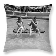 Couple Relaxing In Pool, C.1930-40s Throw Pillow