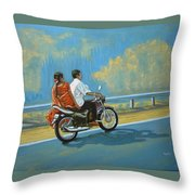 Couple Ride On Bike Throw Pillow