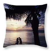 Couple Silhouetted On Beach Throw Pillow