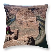 Couple Viewing Horseshoe Bend High Up Edge  Throw Pillow