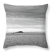 Couple Walking On A Sandbank Throw Pillow