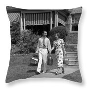 Couple Walking Out Of House, C.1930s Throw Pillow