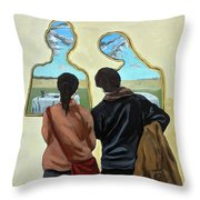 Couple With Their Heads Full Of Clouds Throw Pillow