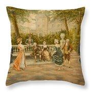 Couples On Veranda Of Chateau Throw Pillow
