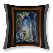 Couples Walking In A Village Throw Pillow