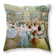 Court Ball At The Hofburg Throw Pillow by Wilhelm Gause