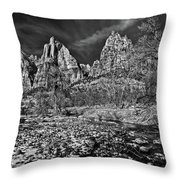 Court Of The Patriarchs II - Bw Throw Pillow