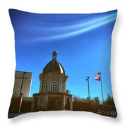 Courthouse And Flags Throw Pillow