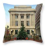 Courthouse At Christmas Throw Pillow